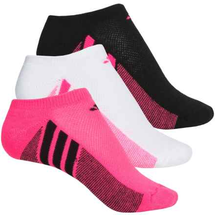 adidas outdoor Cushioned No-Show Socks - 3-Pack, Below the Ankle (For Big Girls) in Solar Pink/Black Black/Solar Pink White/Solar Pink - Closeouts