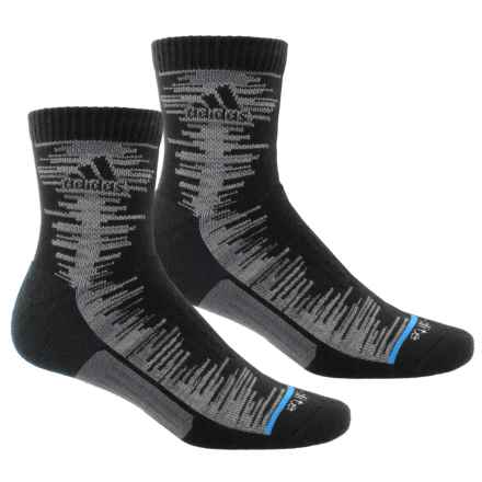 adidas outdoor High Frequency Socks - 2-Pack, 3/4 Crew (For Men) in Black/Onix-Grey Space Dye/Solar Blue - Closeouts