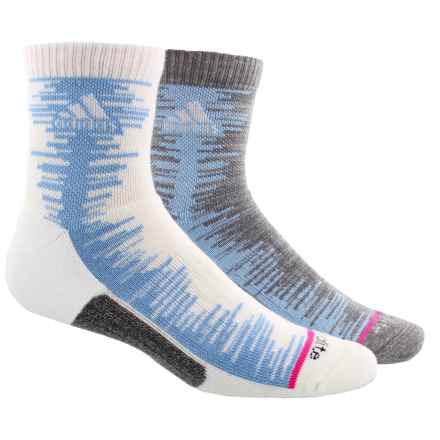 adidas outdoor High Frequency Socks - 2-Pack, 3/4 Crew (For Men) in White/Collegiate Light Blue/Onix-Light Onix Space - Closeouts