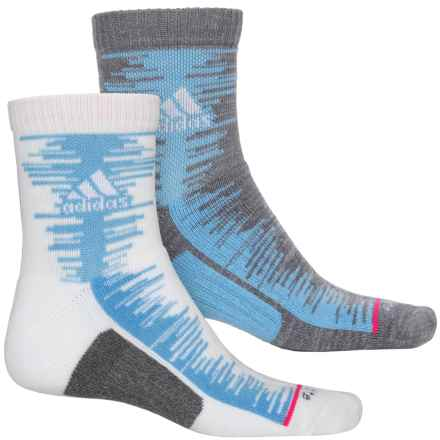 adidas outdoor High Frequency Socks - 2-Pack, 3/4 Crew (For Men) in White/Collegiate Light Blue/Onix Marl/Shock Pink - Closeouts
