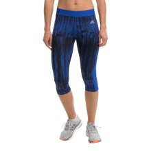 adidas outdoor Techfit Capri Tights - UPF 50+ (For Women) in Bold Blue/Print - Closeouts