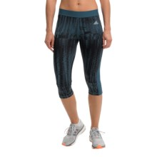 adidas outdoor Techfit Capri Tights - UPF 50+ (For Women) in Midnight/Print - Closeouts