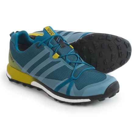 adidas outdoor Terrex Agravic Gore-Tex® Trail Running Shoes - Waterproof (For Men) in Core Blue/Core Black/Unity Lime - Closeouts