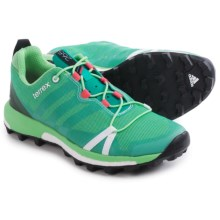 adidas outdoor Terrex Agravic Trail Running Shoes (For Women) in Shock Green/White/Super Blush - Closeouts