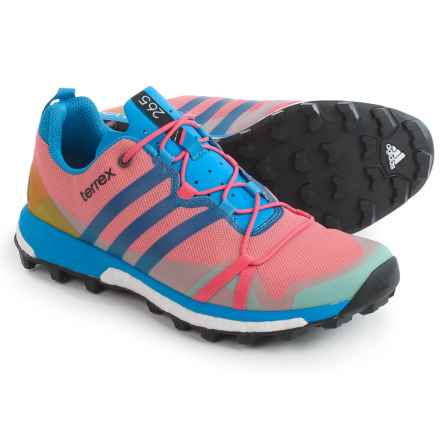 adidas outdoor Terrex Agravic Trail Running Shoes (For Women) in Super Blush/Ray Blue/Vapour Pink - Closeouts
