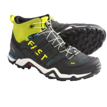 Adidas Outdoor Terrex Fast R Mid Gore-Tex® Hiking Shoes - Waterproof (For Men) in Solid Grey/Black/Lab Lime - Closeouts