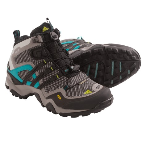 Adidas Outdoor Terrex Fast X FM Mid Gore-Tex® Hiking Boots - Waterproof (For Women) in Grey Rock/Black/Lab Green