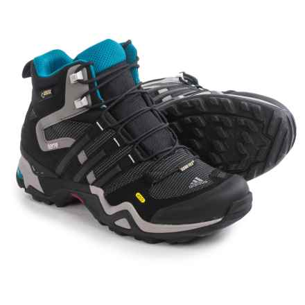adidas outdoor Terrex Fast X GTX High Gore-Tex® Hiking Boots - Waterproof (For Women) in Carbon/Black/Solar Blue - Closeouts