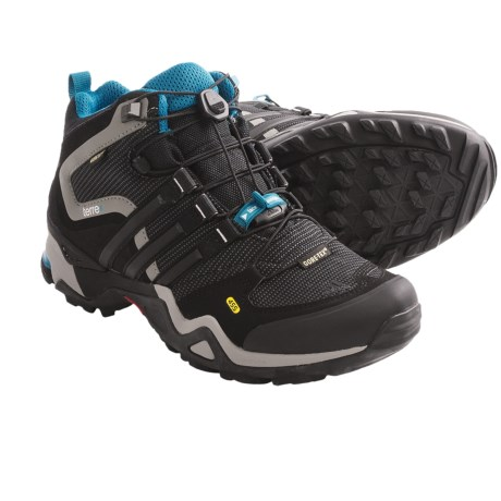 Adidas Outdoor Terrex Fast X Mid Gore-Tex® Hiking Boots - Waterproof (For Women) in Solid Grey/Black/Vivid Teal