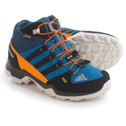 adidas outdoor Terrex Mid Gore-Tex® Hiking Boots - Waterproof (For Little and Big Kids) in Blue/Black/Orange - Closeouts