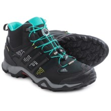 adidas outdoor Terrex Swift R Gore-Tex® Mid Hiking Shoes - Waterproof (For Women) in Black/Vista Grey/Vivid Mint - Closeouts