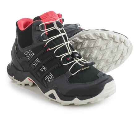 adidas outdoor Terrex Swift R Gore-Tex® Mid Hiking Shoes - Waterproof (For Women) in Dark Grey/Black/Super Blush - Closeouts