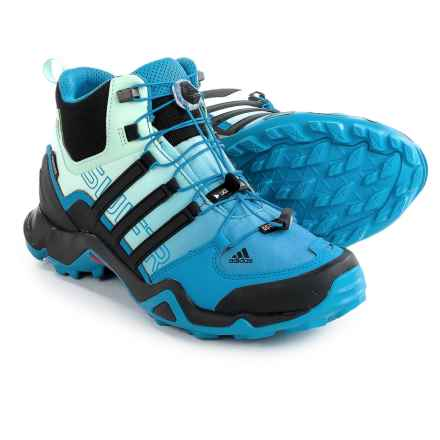 adidas outdoor Terrex Swift R Gore-Tex® Mid Hiking Shoes - Waterproof (For Women) in Ray Blue/Black/Ice Green - Closeouts