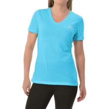 adidas outdoor Ultimate V-Neck Shirt - Short Sleeve (For Women) in Bright Cyan/Matte Silver - Closeouts
