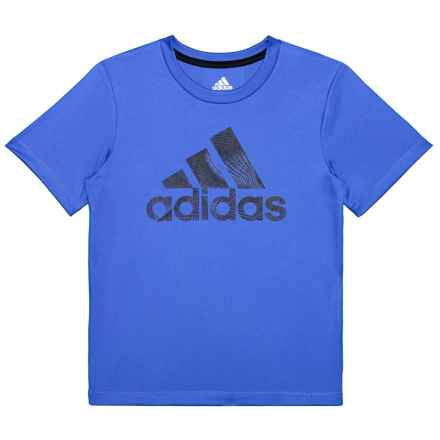 adidas Pattern Fill Logo T-Shirt - Short Sleeve (For Toddlers and Little Boys ) in Royal - Closeouts