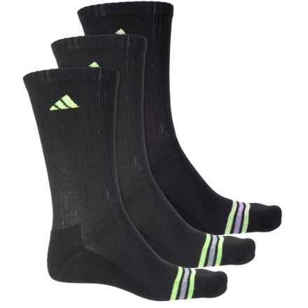 adidas Poly Stripe Socks - 3-Pack, Crew (For Men) in Black/Solar Green/Light Onix - Closeouts