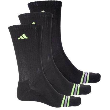 adidas Poly Stripe Socks - 3-Pack, Crew (For Men) in Black/Solar Green/Light Onix
