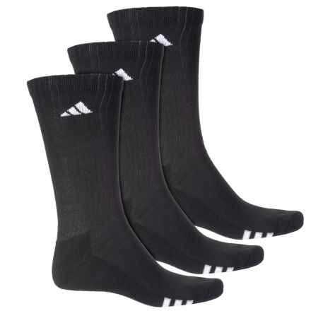 adidas Poly Stripe Socks - 3-Pack, Crew (For Men) in Black/White/Aluminum 2 - Closeouts