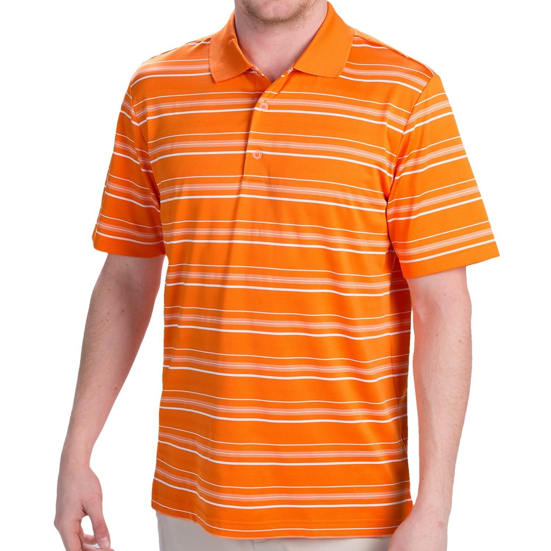 Orange Striped Polo Shirt Textured Stripe Polo Shirt