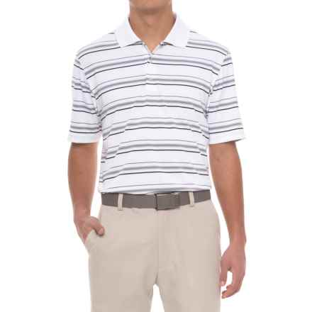 adidas puremotion® Textured Stripe Polo Shirt - Short Sleeve (For Men) in White/Black - Closeouts