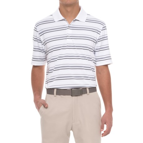 adidas puremotion® Textured Stripe Polo Shirt - Short Sleeve (For Men) in White/Black