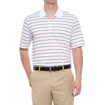adidas puremotion® Two-Color Stripe Polo Shirt - Short Sleeve (For Men) in White/Black - Closeouts