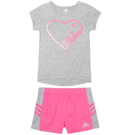adidas Shirt and Shorts Set - Short Sleeve (For Little Girls) in Grey - Closeouts