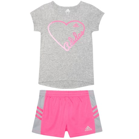 adidas Shirt and Shorts Set - Short Sleeve (For Little Girls) in Grey