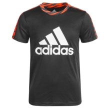 adidas Solid Large Logo Shirt - Short Sleeve (For Big Boys) in Black/Bright Red - Closeouts