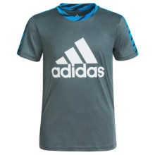adidas Solid Large Logo Shirt - Short Sleeve (For Big Boys) in Bold Onix/Shock Blue - Closeouts