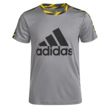 adidas Solid Large Logo Shirt - Short Sleeve (For Big Boys) in Medium Grey Heather/Black - Closeouts