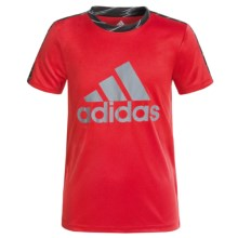 adidas Solid Large Logo Shirt - Short Sleeve (For Big Boys) in Scarlet Red/Grey - Closeouts