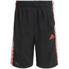 adidas Striped Mesh Shorts (For Big Boys) in Black/Bright Red - Closeouts