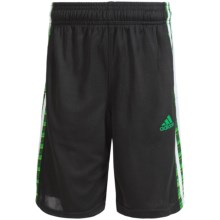 adidas Striped Mesh Shorts (For Big Boys) in Black/Green - Closeouts