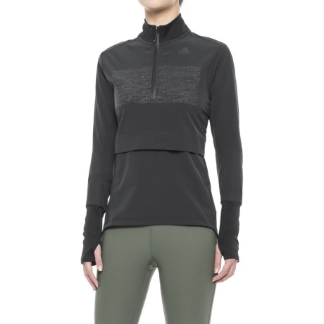 adidas Supernova Storm Shirt - Zip Neck, Long Sleeve (For Women) in Black