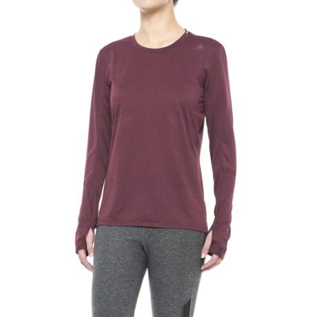 adidas Supernova T-Shirt - Long Sleeve (For Women) in Maroon