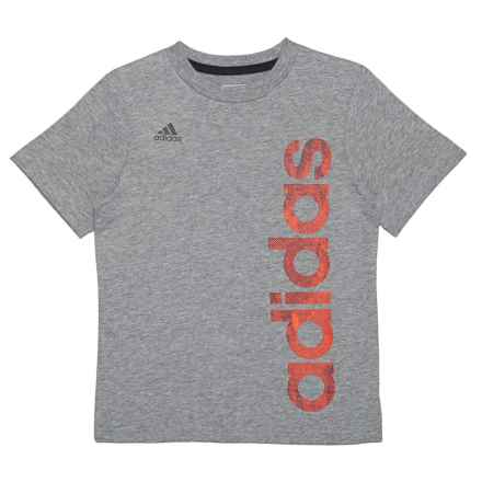 adidas Supreme Speed Linear Heather T-Shirt - Short Sleeve (For Toddlers and Little Boys) in Dark Grey - Closeouts