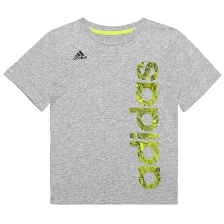 adidas Supreme Speed Linear T-Shirt - Short Sleeve (For Little Boys) in Grey