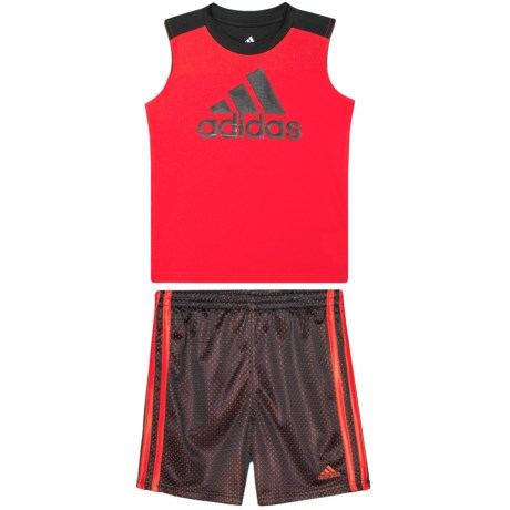 adidas Tank Top and Shorts Set - 2-Piece (For Toddler Boys) in Bright Red