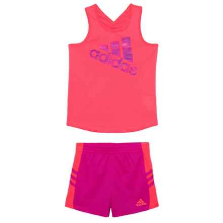 adidas Tank Top and Shorts Set - 2-Piece (For Toddler Girls) in Red Orange - Closeouts