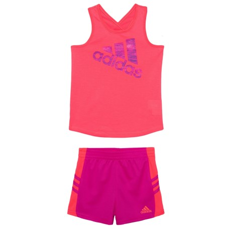adidas Tank Top and Shorts Set - 2-Piece (For Toddler Girls) in Red Orange