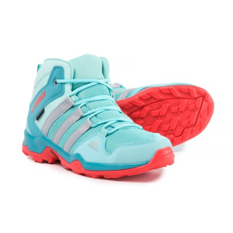 adidas Terrex AX2R Mid ClimaProof® Hiking Boots - Waterproof (For Big and Little Girls) in Clear Aqua/Grey Two/Easy Coral
