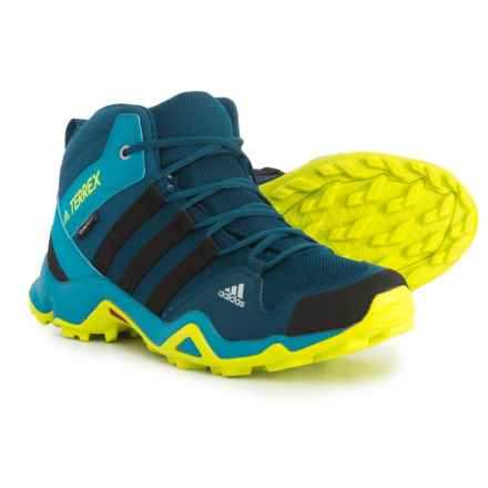 adidas Terrex AX2R Mid ClimaProof® Hiking Boots - Waterproof (For Big and Little Kids) in Blue Night/Black/Semi Solar Yellow - Closeouts
