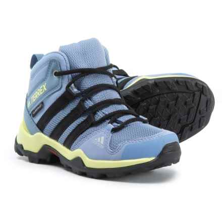 adidas Terrex AX2R Mid ClimaProof® Hiking Boots - Waterproof (For Little and Big Boys) in Chalk Blue/Black/Semi Frozen Yellow - Closeouts