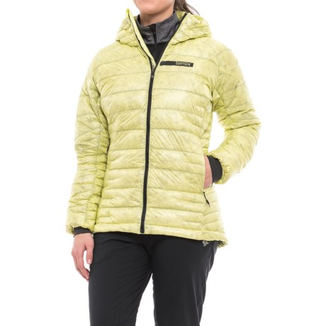 adidas Terrex ClimaHeat® Agravic Hooded Jacket - 800 Fill Power (For Women) in Ice Yellow/Utility Black
