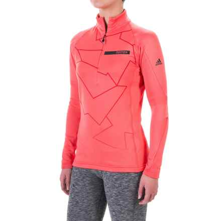 adidas Terrex Icesky 2 ClimaWarm® Shirt - Zip Neck, Long Sleeve (For Women) in Super Blush - Closeouts