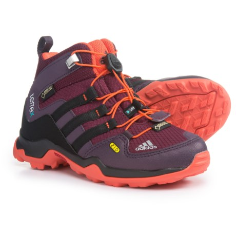 adidas Terrex Mid Gore-Tex® Hiking Boots - Waterproof (For Little and Big Kids) in Amazon Red/Black/Semi Solar Red