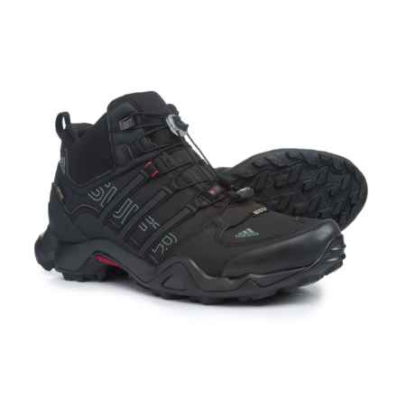 adidas Terrex Swift R Gore-Tex® XCR® Mid Hiking Boots  - Waterproof (For Men) in Black/Vista Grey/Power Red - Closeouts