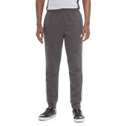adidas Three Stripe Fleece Joggers (For Men) in Dark Grey W/White Stripes - Closeouts