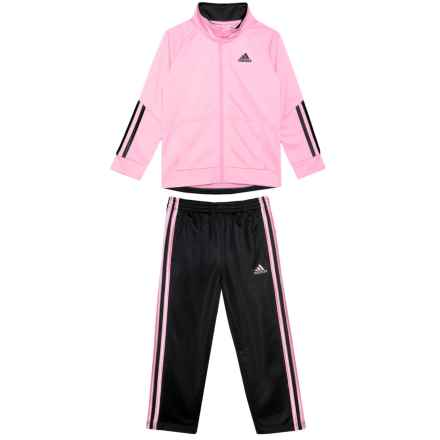 adidas Three-Stripe Tricot Track Jacket and Pants Set (For Toddler Girls) in Pink W/Black - Closeouts
